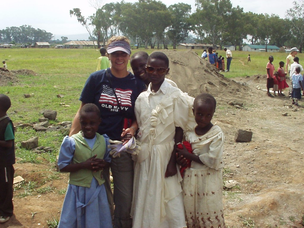 World Teacher Aid Donor Collette with local Kenyan students