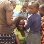 World Teacher Aid Kenya Connection Irene getting her hair done