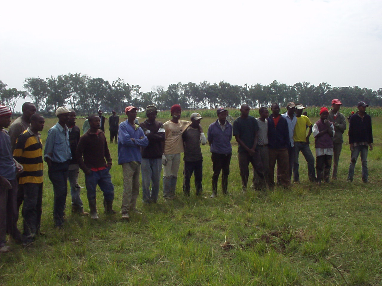 Kenyan Work crew at World Teacher Aid site waiting for kits and Solvay T-shirts