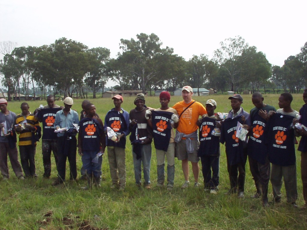 The Kenyan World Teacher Aid construction crew with their new Solvay Concert Band t-shirts