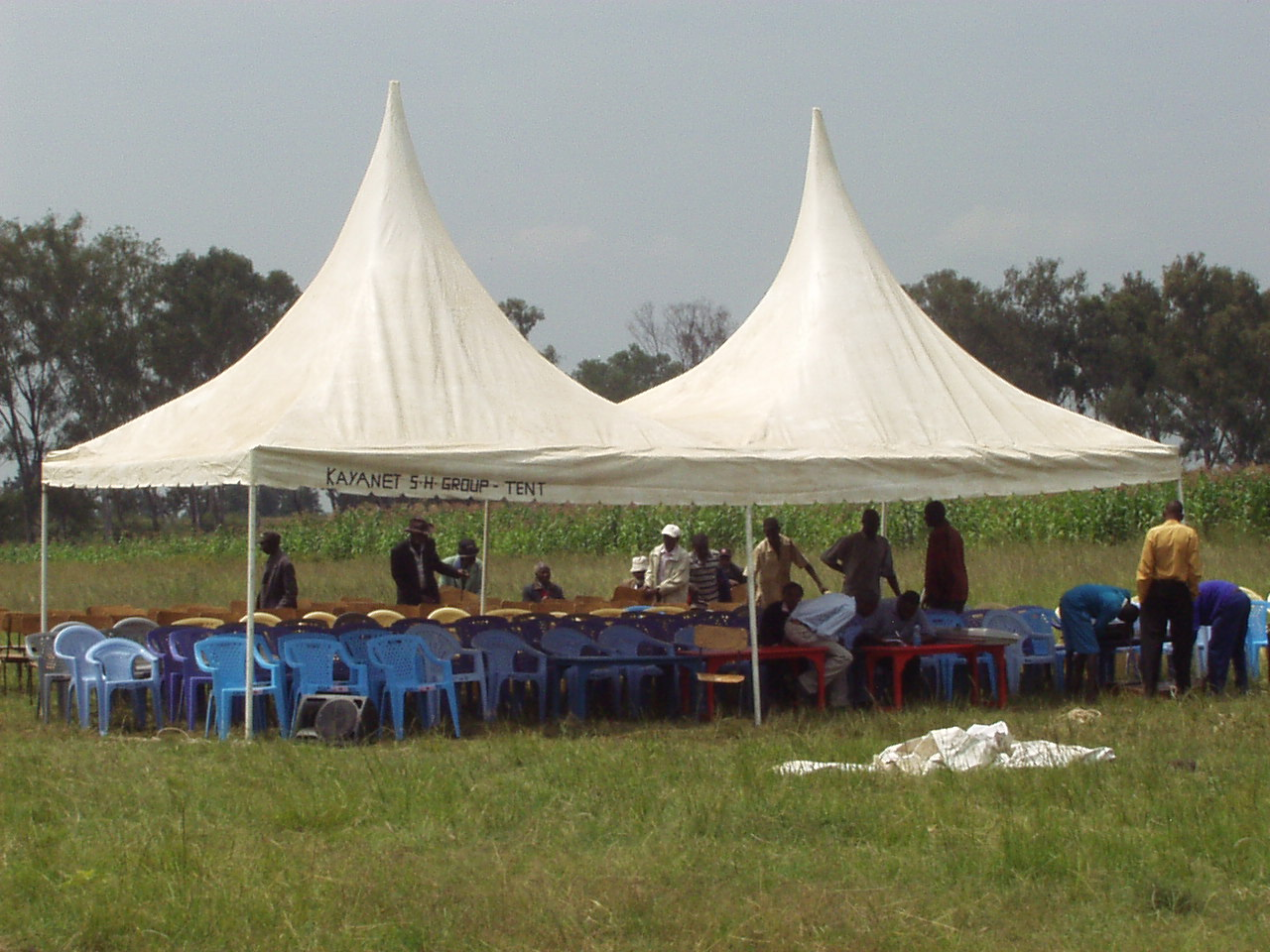 Tent set up for the World Teacher Aid Kenyan school dedication ceremony