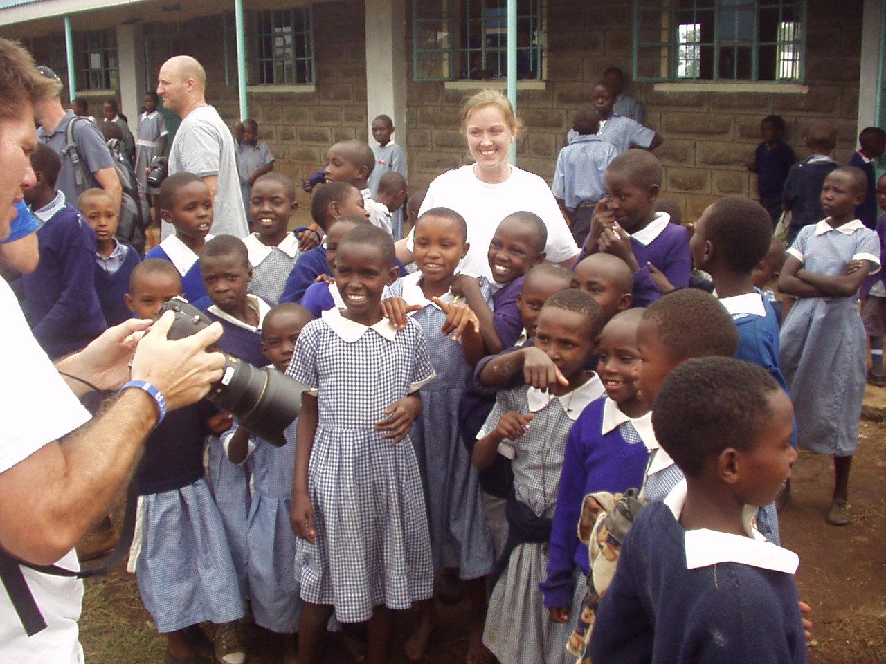 Brooke Justin and Garrett with Happy Kenyan students