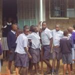 Kenyan students awaiting world teacher aid donations