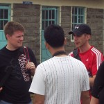 Stu, Russell and Mike talk over the donation strategy in kenya