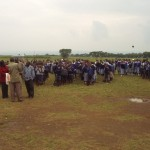 Kenyan classes lining up before the donation from world teacher aid