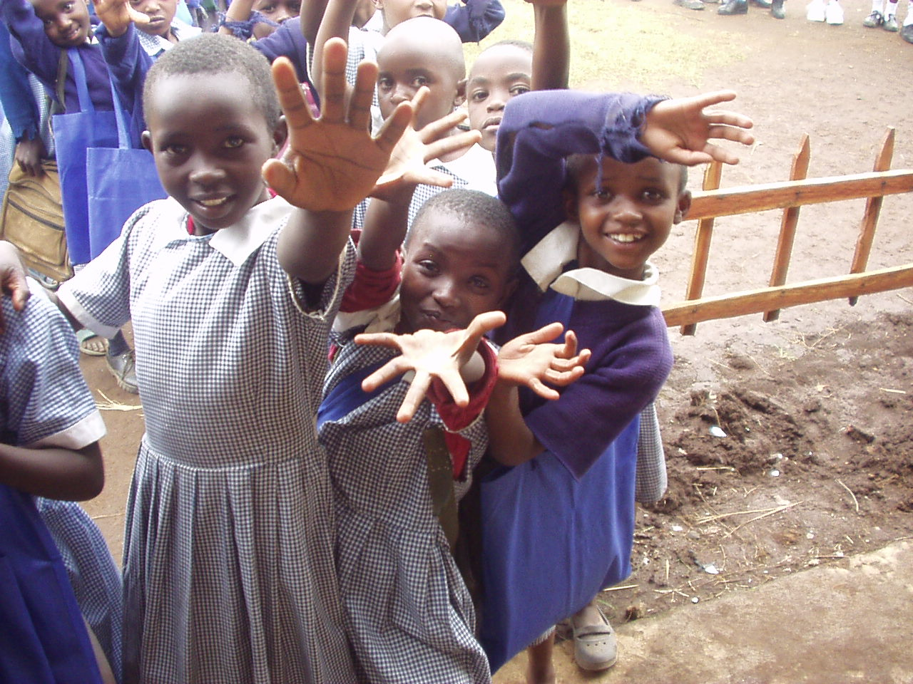 Excited students waiting for donations from World teacher aid in Kenya