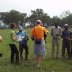 Handing out Solvay Concert band t-shirts to Kenyan work crew