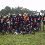 Dave Gardner and the Kenyan World Teacher Aid construction crew with their new Solvay t-shirts